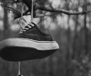 black and white, sad, and vans image