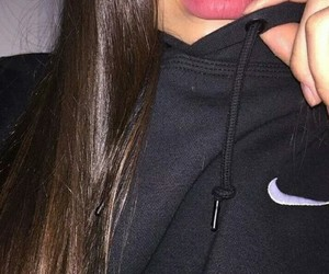 nike, lips, and black image
