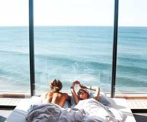 couple, sea, and bed image