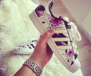 adidas, superstar, and flowers image
