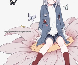 anime girl, flower, and butterflies image