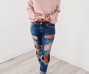 sweater, fashion, and jeans image
