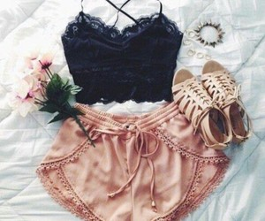 flowers, nude shoes, and black crop top image