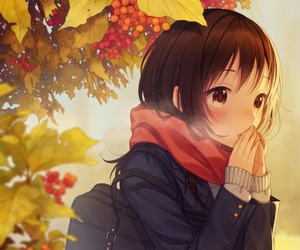 anime girl, leaves, and scarf image
