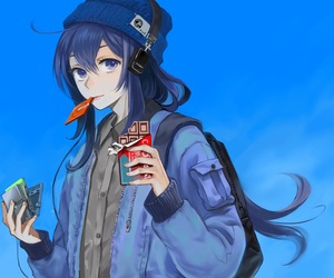 anime girl, beanie, and coat image