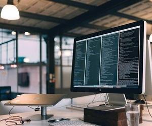 hacker, macbook, and monitor image