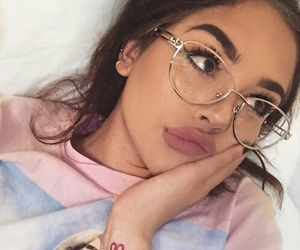 girl, makeup, and glasses image