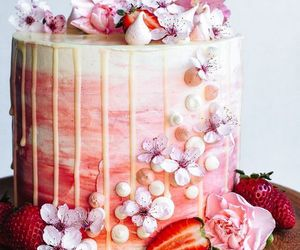 cake, flowers, and strawberry image