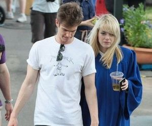 couple, emma stone, and spider man image