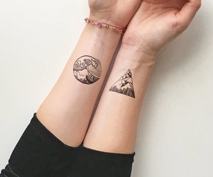 tattoo, girl, and mountains image