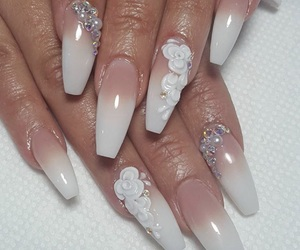 nails, Nude, and pearls image