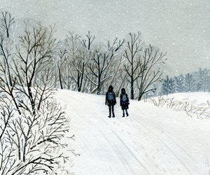 drawing, illustration, and snow image