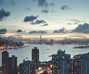 city, light, and sky image