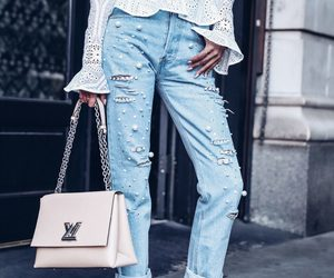 bag, fashion, and ripped jeans image