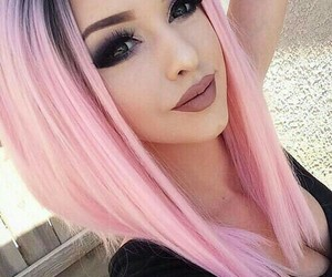 girl, makeup, and pink hair image