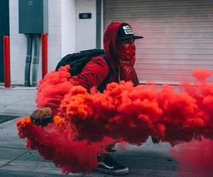 red, smoke, and street image