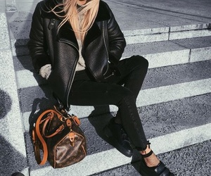 bag, black jeans, and cold image