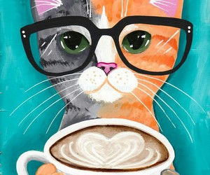 cat, wallpaper, and coffee image