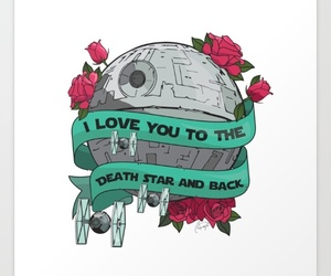 art, death star, and floral image