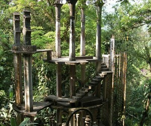 abandoned, pillars, and rainforest image