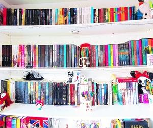 book, bookshelf, and decoration image