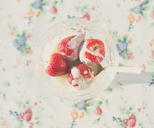 flowers, light, and strawberry image