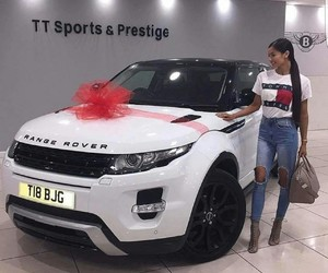 car, girl, and range rover image