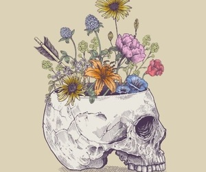 flowers, art, and skull image