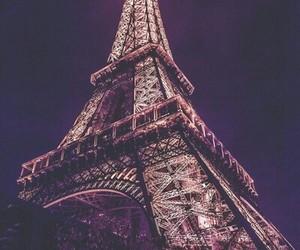 eiffel tower, paris, and purple image