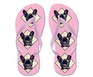 bulldog, french, and flip flops image