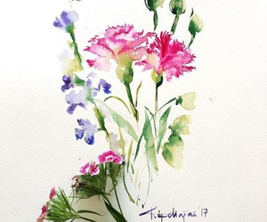 flowers, painting, and watercolor image