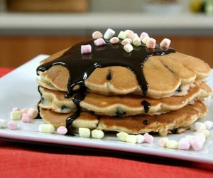 food, marshmallow, and pancakes image