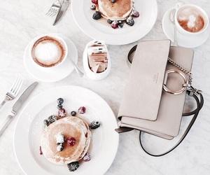 food, pancakes, and coffee image
