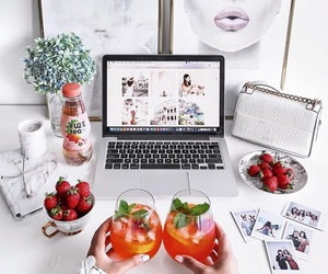 white, drink, and strawberry image