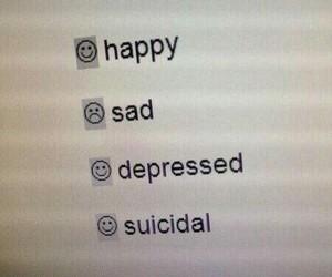 sad, happy, and depressed image