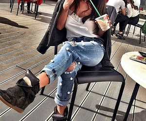 fashion, coffee, and ripped jeans image