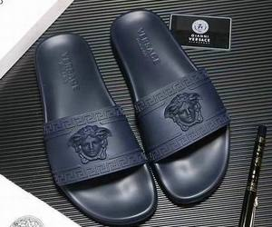 versace leather slipper and versace mens sandals image