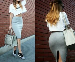 bag, gray, and nike image