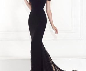 black, formal, and gown image