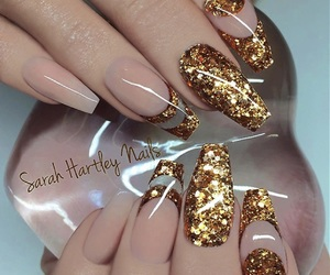 glitter, acrylic nails, and gold image