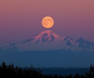 nature, moon, and mountain image