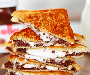 food, marshmallow, and nutella image