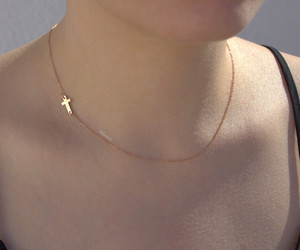chokers, small cross necklace, and minimalist image