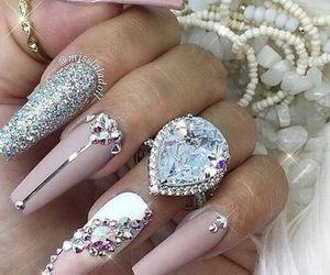 nails, pink, and diamond image