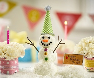 happy birthday, lovely, and snow man image
