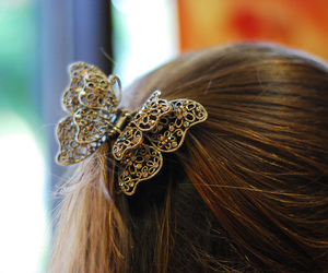 butterfly, hair, and pretty image
