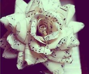 flower, paper flower, and music image