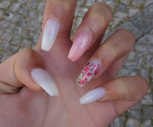 flower, nails, and polish image
