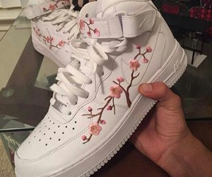 shoes, nike, and flowers image