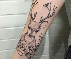 tattoo, deer, and art image